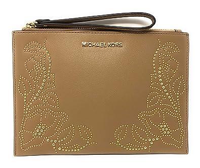 68a09945127359 Image Unavailable. Image not available for. Color: Michael Kors Nouveau  Floral Large Zip Clutch Leather Wristlet Purse ...
