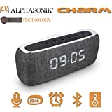 Alphasonik CHARM Wireless Bluetooth Portable Speaker with Digital LED Alarm Clock, Auto and Manual Dimmer, FM Radio, HD Sound and Bass, Micro USB, Auxilliary 3.5mm, SD card, for iPhone and Samsung