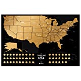 "Detailed Scratch Off USA Travel Map - Premium Edition - 23.6"" х 15.7"" - Rewritable Places I've Been US Map – Made From Flexible Plastic to Last Longer by 1DEA.me"