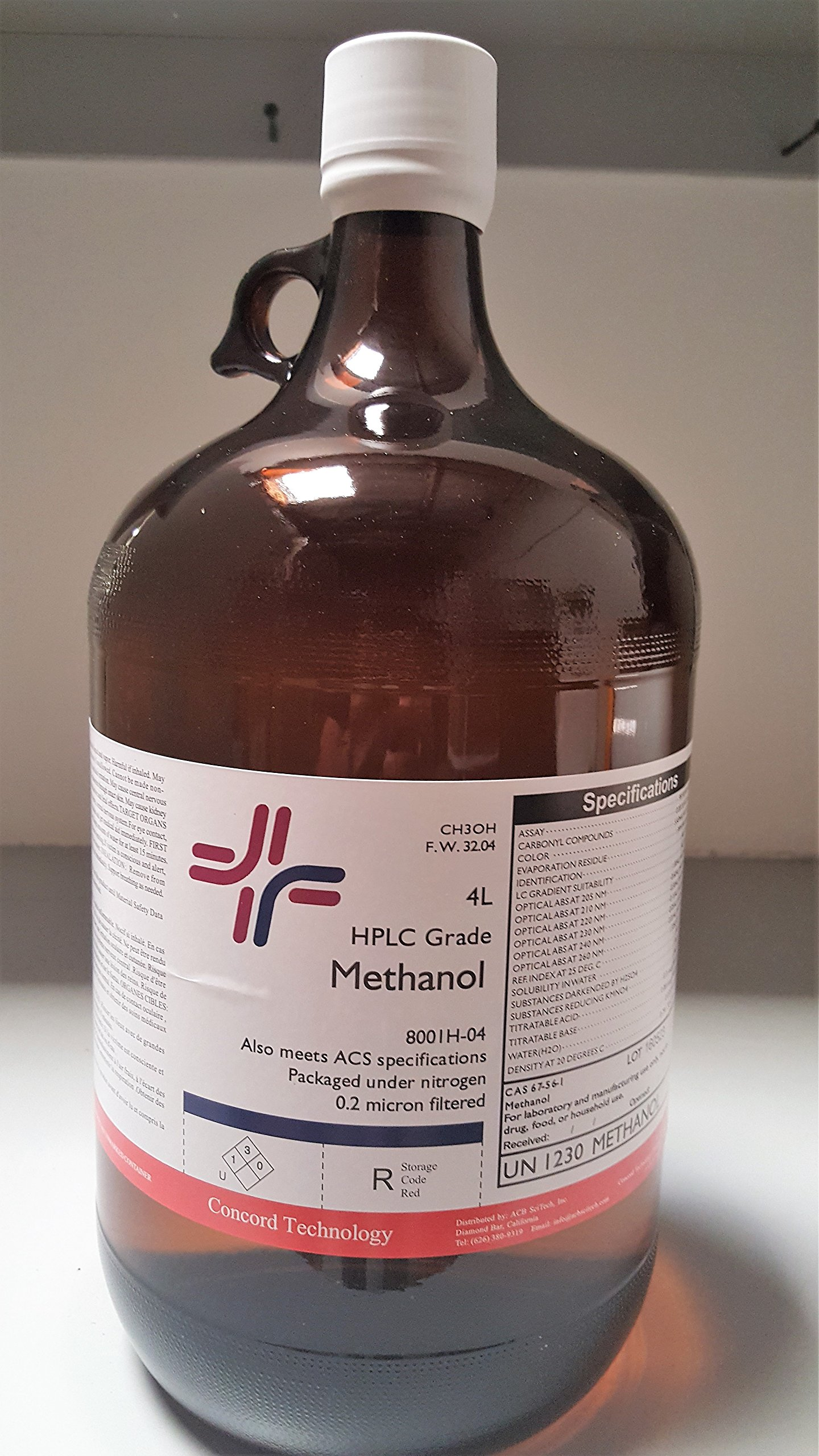 Methanol, HPLC, ACS, 99.9% Min, 4-Liter, Case of 4