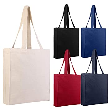 6c0ff0c6b7e3 BagzDepot (12 PACK) Heavy Duty Canvas Book Tote Bags Reusable Plain Tote  Bags in