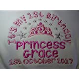 Personalised Embroidered Baby Bib - Girl's - It's My 1st Birthday Tiara and Princess Design Velcro Bib - Add ***Any Name*** & ***Date*** If required