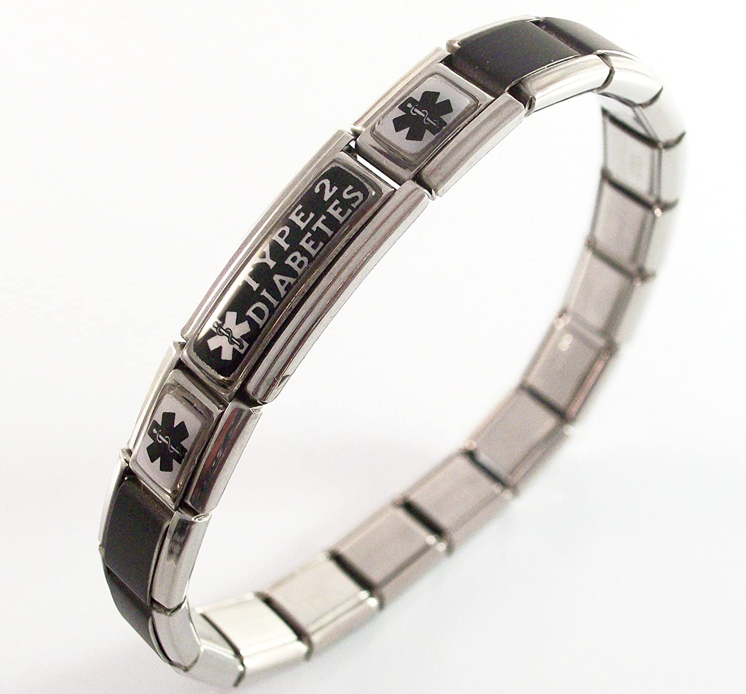 Type 2 Diabetes Medical Bracelet Italian Charm Black and White