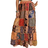 Exotic India Long Printed Dori Skirt from Gujarat with Patch Work