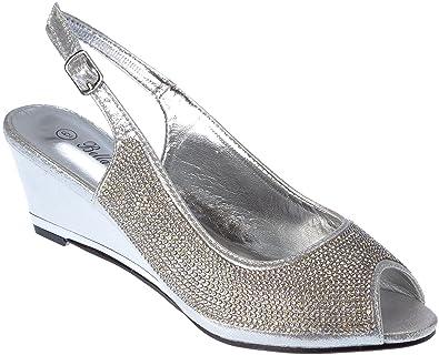 Ssicily17 Women s Evening Sandal Rhinestone Wedge Heel Silver Dress-Shoes  Size 6 8f9553fd5