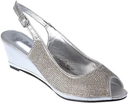 9383a7bb397 Ssicily17 Women s Evening Sandal Rhinestone Wedge Heel Silver Dress-Shoes  Size 6