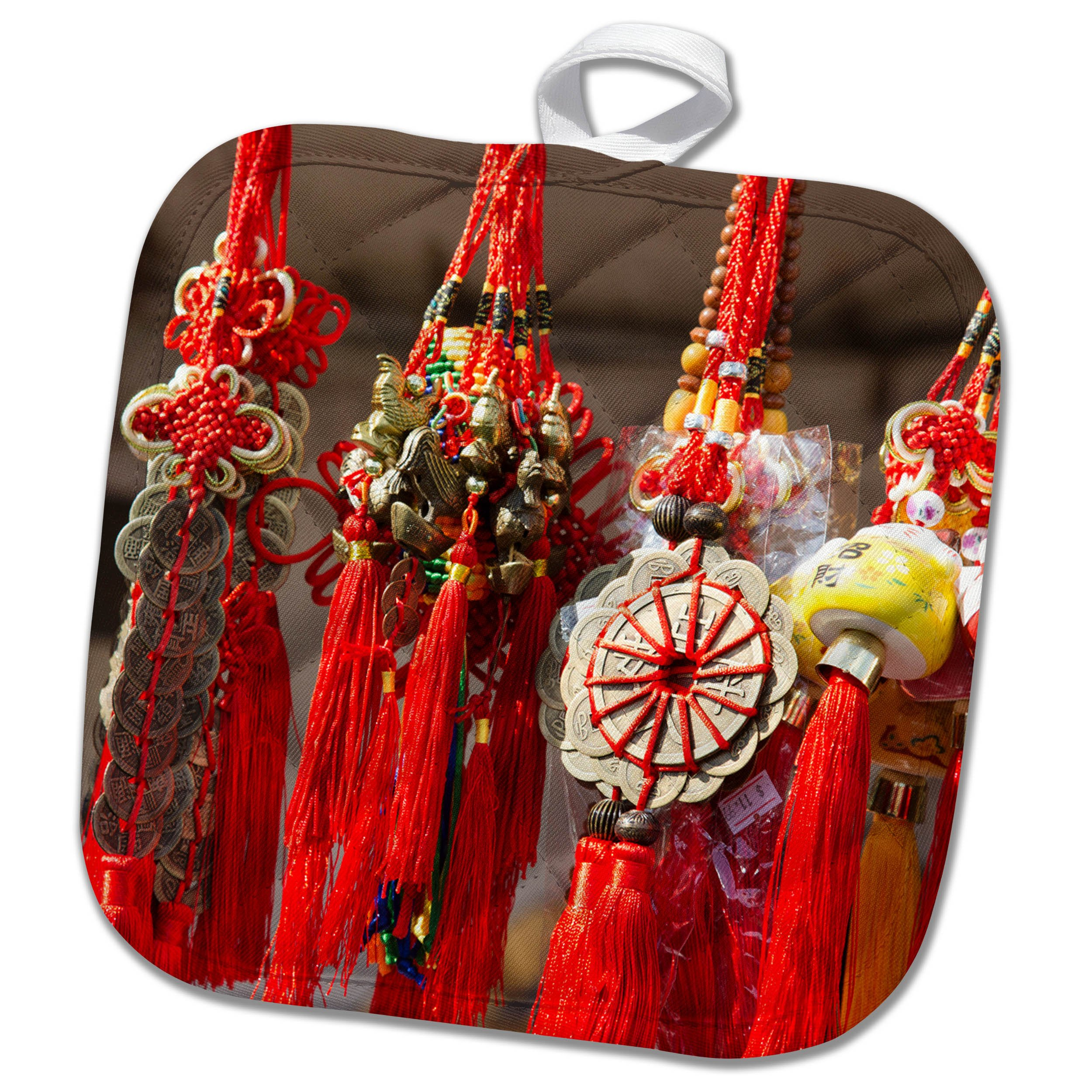 3dRose Danita Delimont - Markets - USA, Arizona, Phoenix. Traditional tassels at Chinese Festival. - 8x8 Potholder (phl_278447_1)
