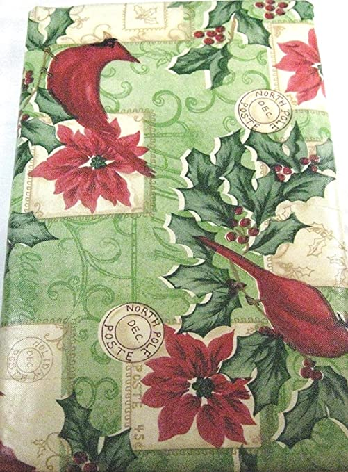 Amazon Com Flannel Back Vinyl Happy Holiday Tablecloths Poinsettia And Red Cardinal Assorted Sizes Square Oblong And Round 52 X 70 Home Kitchen