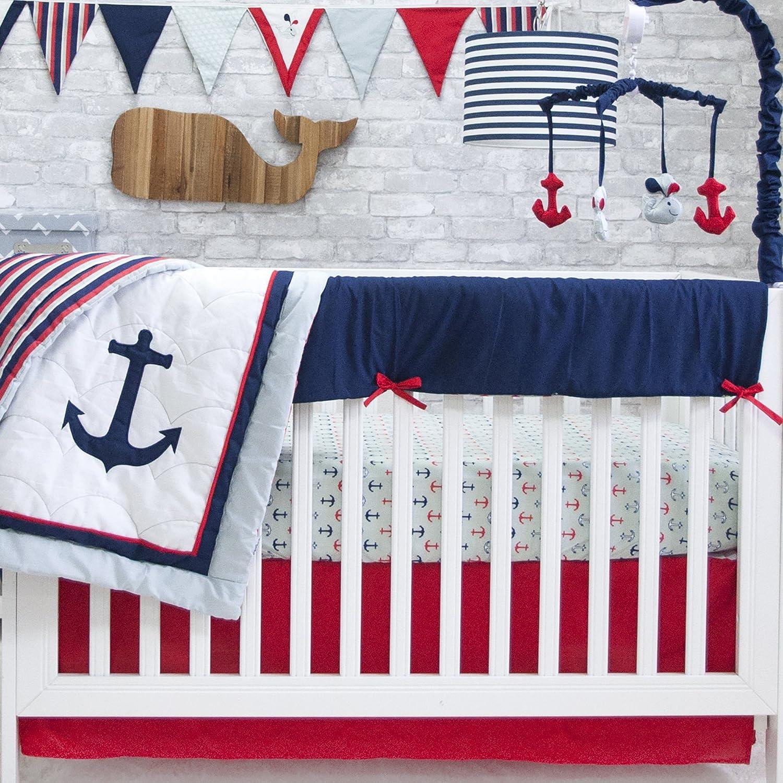Pam Grace Creations 6 Piece Anchors Away Crib Set, Blue/Red BDNB-NAUTICAL