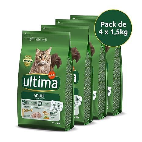 ultima Pienso para Gatos Adultos con Pollo - Pack de 4 x 1,5 kg, Total: 6 kg