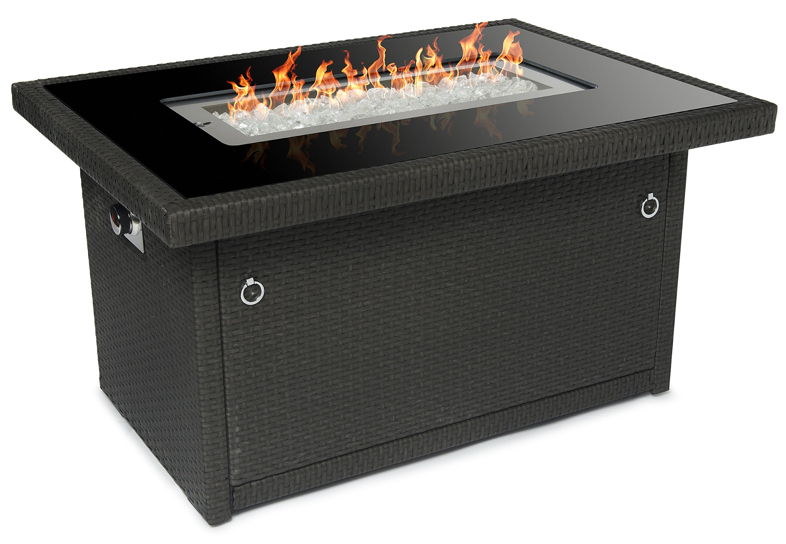 Outland Fire Table, Aluminum Frame Propane Fire Pit Table w/Black Tempered Glass Tabletop Resin Wicker Panels & Arctic Ice Glass Rocks, Model 401 35,000 BTU Auto-ignition (Slate Grey)