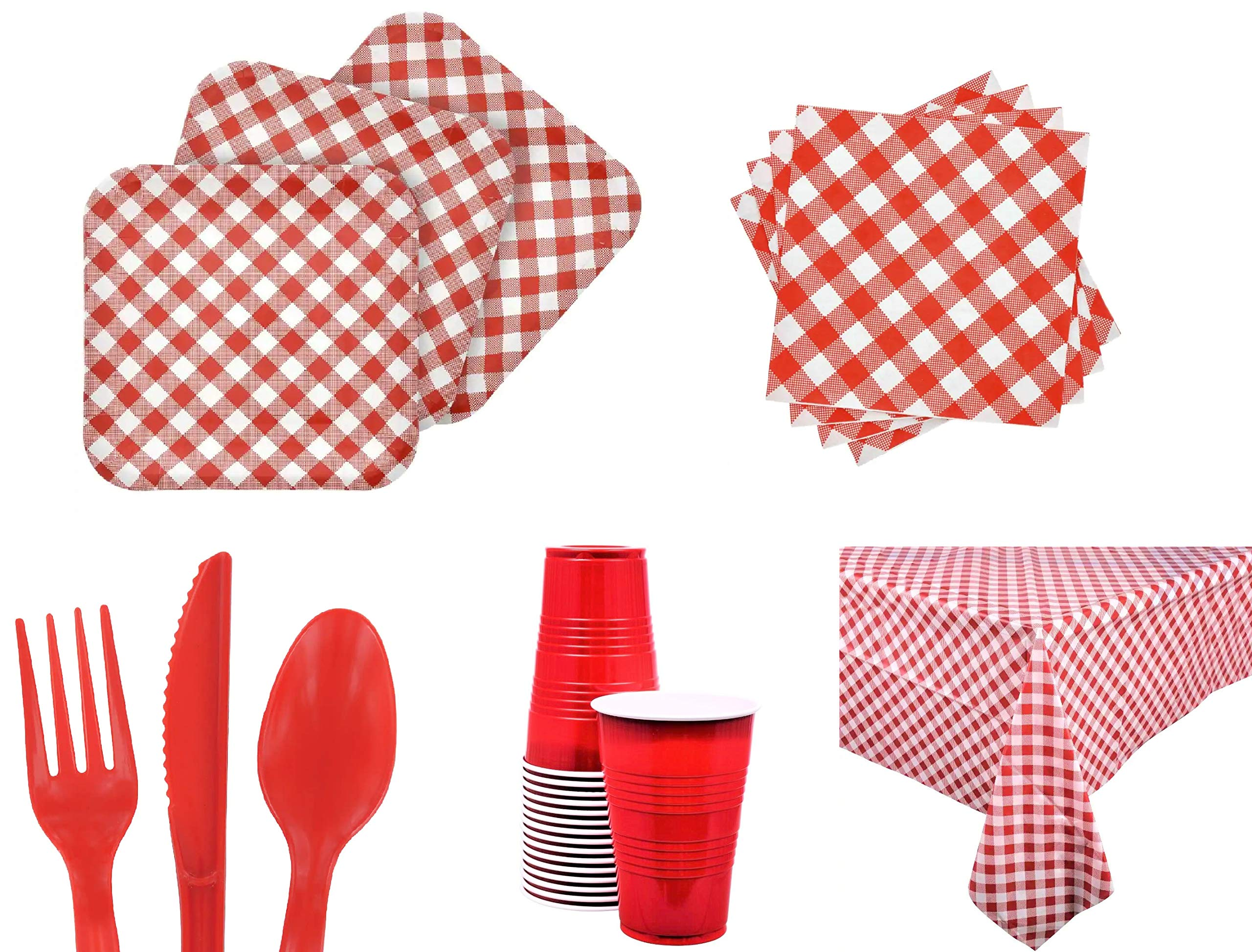 Red Gingham Picnic BBQ Summer Festivities Disposable Party Supplies Set - Serves 28 - with 40 Gingham Napkins, 28 Gingham Plates, 32 (16oz) Red Cups, 96-ct Red Utensils Set, 2 Gingham Table Covers