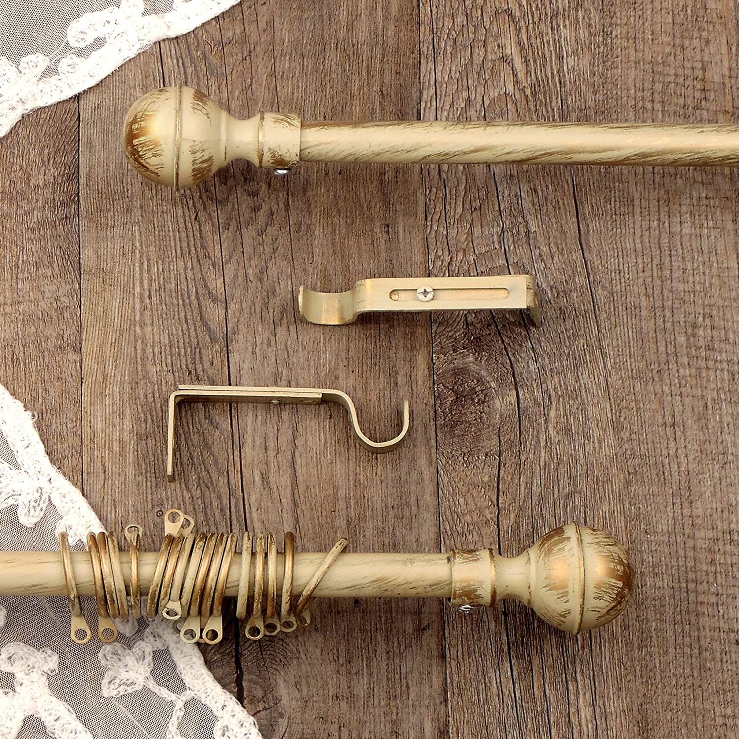 AT17 Vintage Shabby Chic Farmhouse Extendable Curtain Rod - Curtain Pole Rail - Sphere - 120-210 - Dark Ivory/Gold - Metal