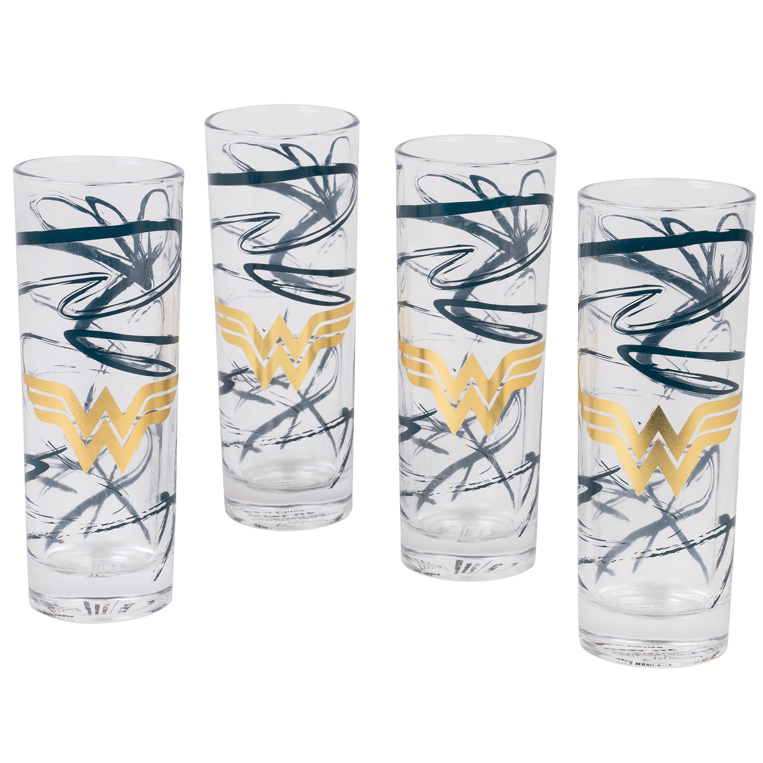 DC Wonder Woman Highball Glasses, Set of 4 - Cute Pinache Gold Wonder Woman Symbol with Blue Swirls - 8 oz