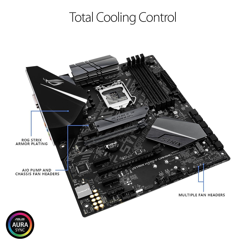 Asus Intel H370 ATX - Placa base gaming con Aura Sync RGB iluminación LED, pre-mounted I/O shield, dual M.2, onboard M.2 heatsink, SATA 6Gbps y USB 3.1 Gen ...