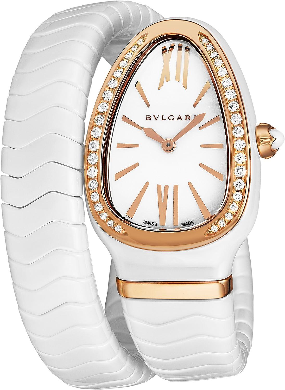 BULBARI SPC35WGDWCGD1.1T - Reloj analógico de Cuarzo para Mujer con Esfera Blanca y Cristales de Zafiro en Forma de Serpiente: Bvlgari: Amazon.es: Relojes