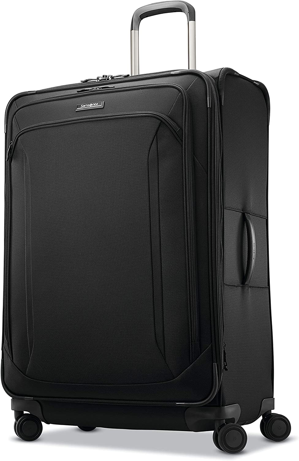 Samsonite Lineate Softside Expandable Luggage with Spinner Wheels, Obsidian Black, Checked-Large 29-Inch