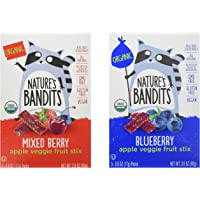 Nature's Bandits Organic Fruit & Veggie Stix, Variety Pack (Blueberry & Mixed Berry), 6 Boxes of 0.6 ounce 5 pack bags…