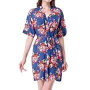 ALLINLOVER Women's Cotton Floral Kimono Robe Soft Breathable for Bride and Bridesmaids,Navyblue,Large
