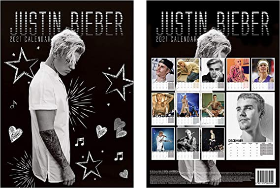 Amazon.: Justin Calendar 2021 A3 + Bieber Fridge Mag
