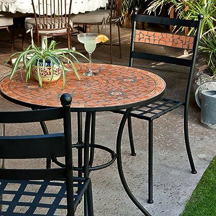 32ee9e5efc15 Black Modern 3 Piece Gramercy Home Mosaic Patio Bistro Set | Perfect  Contemporary Conversation Furniture Set