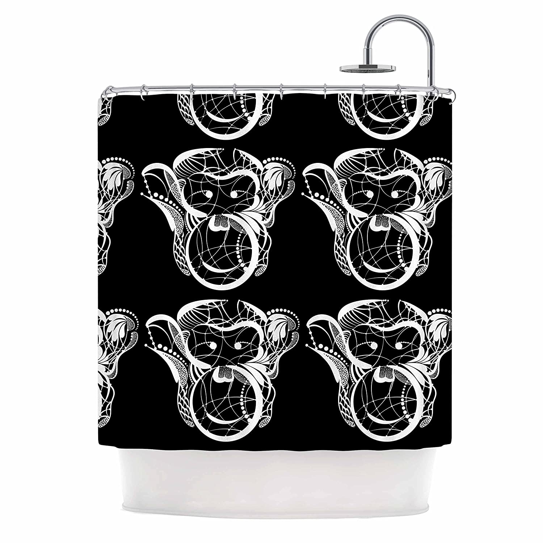 69 x 70 Shower Curtain Kess InHouse Maria Bazarova Monkey White Animals