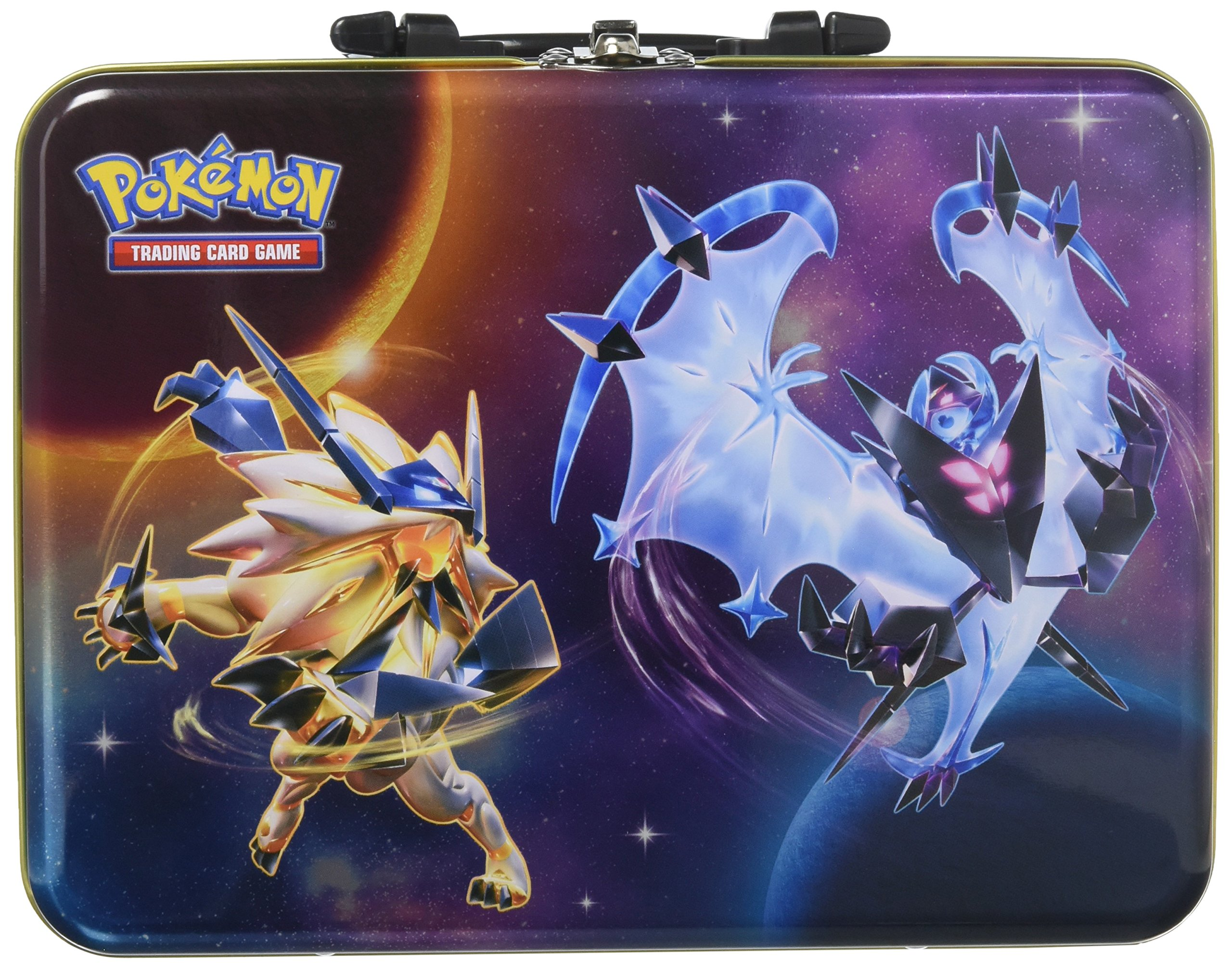 Pokemon TCG: 2018 Collector's Chest Tin | Collectible Trading Card Set, 3 Ultra Rare Foil Promo Form Lycanroc, Dusk Mane, Dawn Wings Necrozma | 5 Booster Packs, Stickers and More