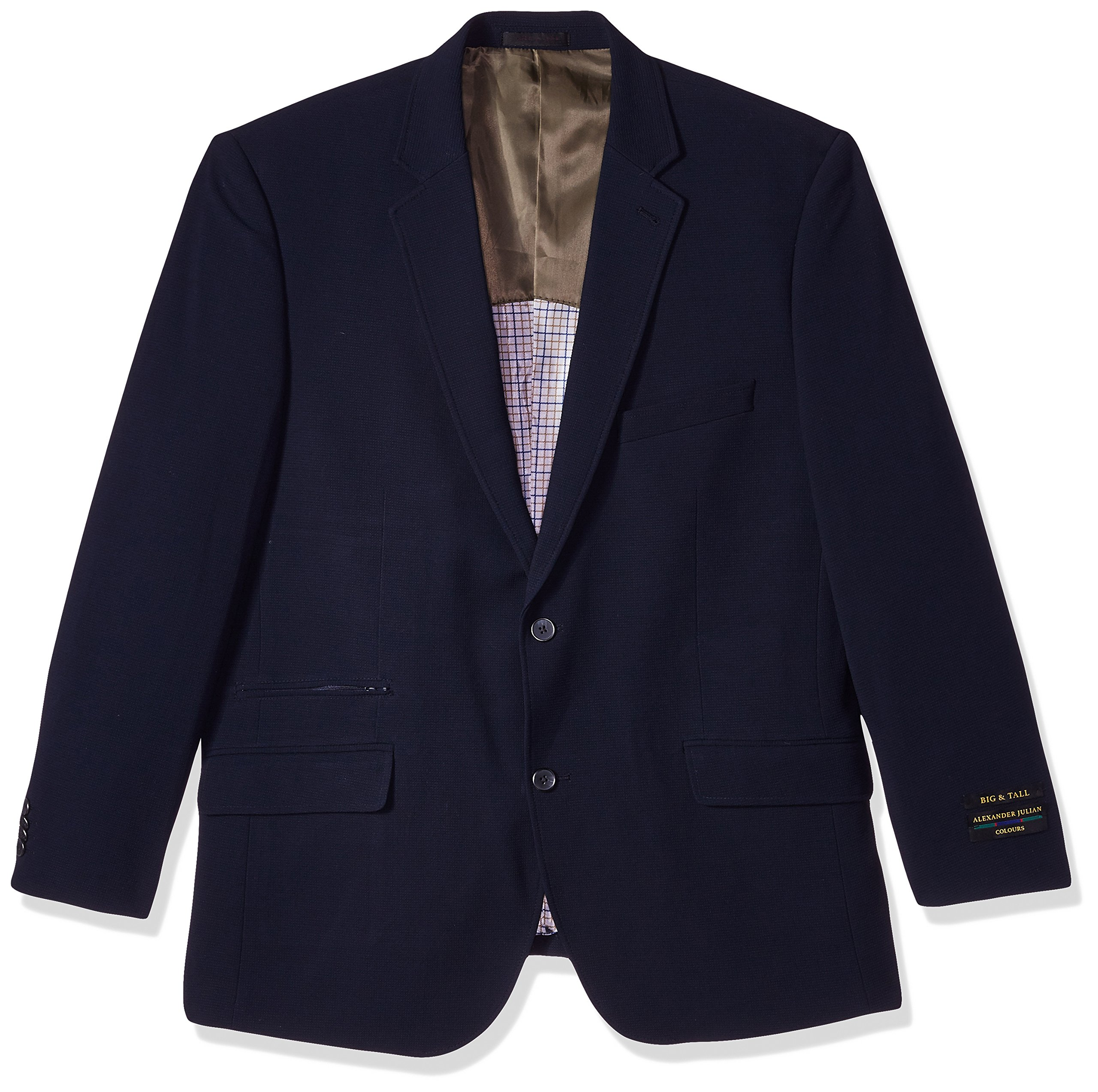 Alexander Julian Colours Men's Big and Tall Single Breasted Knit Travel Sportcoat, Navy Texture, 50 Regular