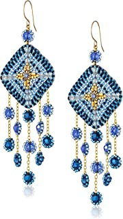 product image for Miguel Ases Gold-Filled Multicolored Beaded Drop Earrings