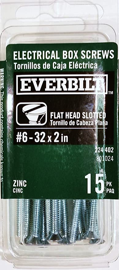 Electrical Box Screws, #6-32 x 2in., 15 Pack