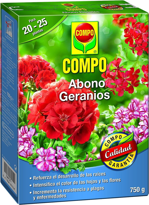 Compo Abono para geranios, Apto Flor, Envase estanco, Granulado, para 20-25 Plantas, 750 g, 20x14.2x4.7 cm
