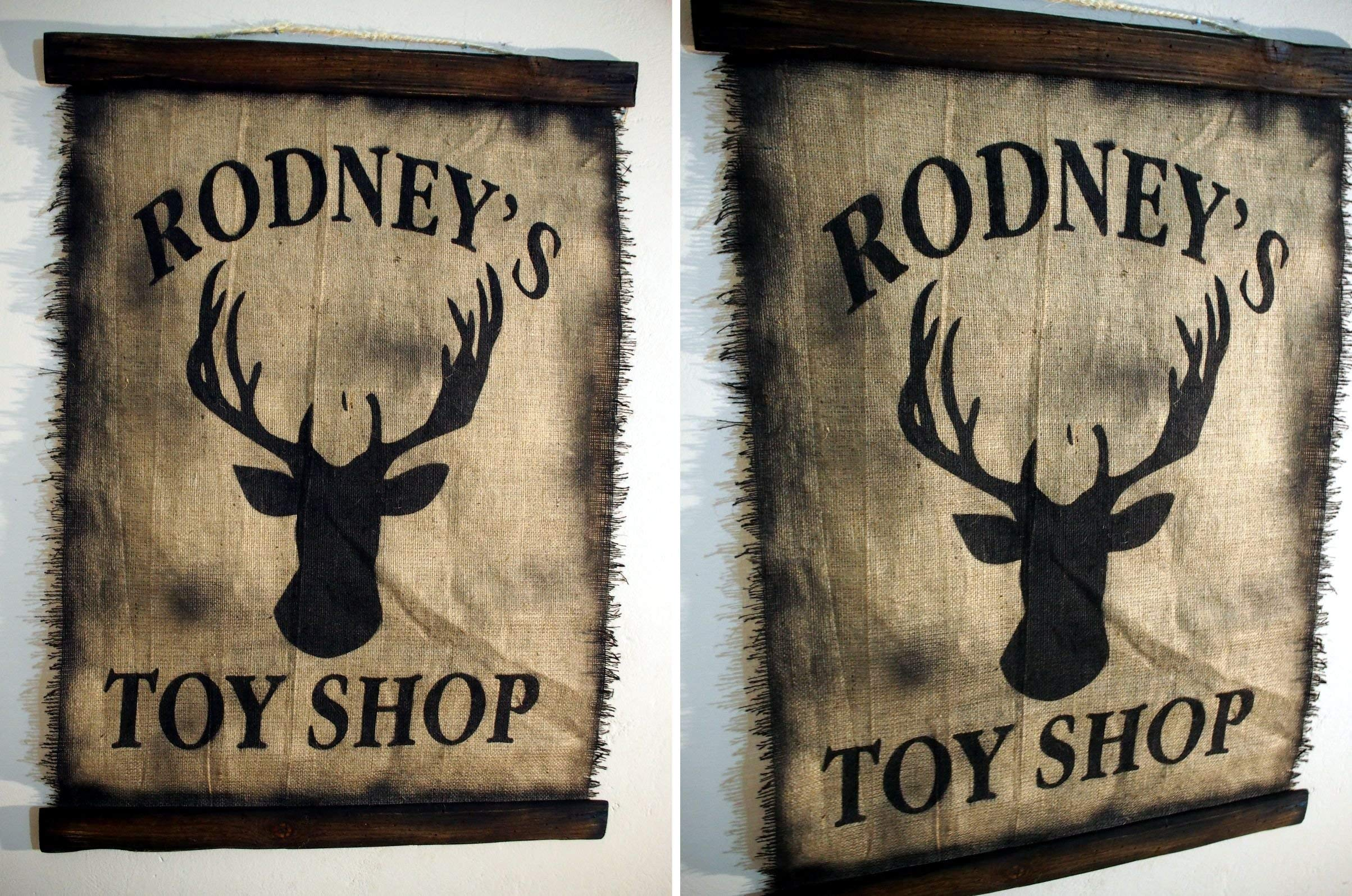 Custom Flag wall decor made of worn out burlap and wood | Rustic Decor | Pirate flag Wall art | Personalized Gift | Man Cave, Home Bar, Boys Room by Woodcraft City (Image #5)
