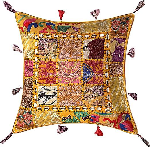 Stylo Culture Decorativo Algodón Fundas Cojines Cama 43x43 cm 43x43 cm Amarillo Bordado Labor de Retazos