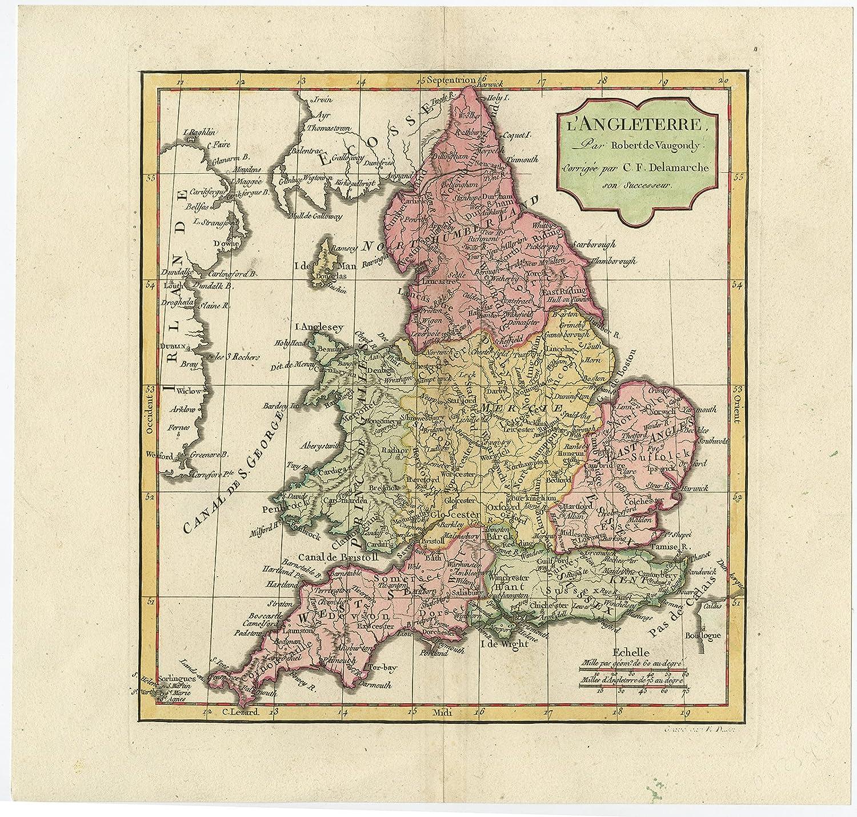 Map Of England In 1500.Antique Map England Great Britain Delamarche De Vaugondy 1806