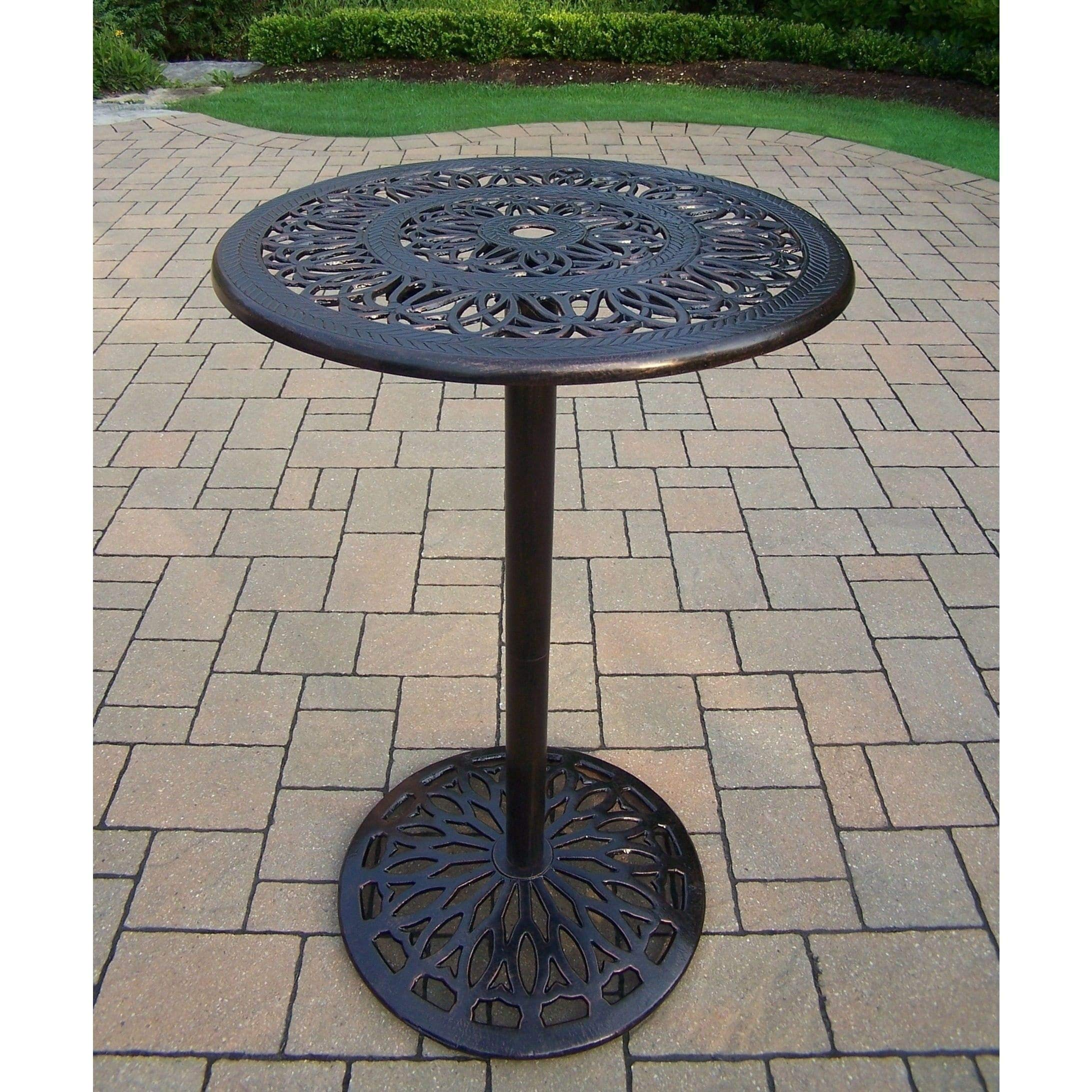 Oakland Living Corporation Elegance Cast Metal Round Bar Table
