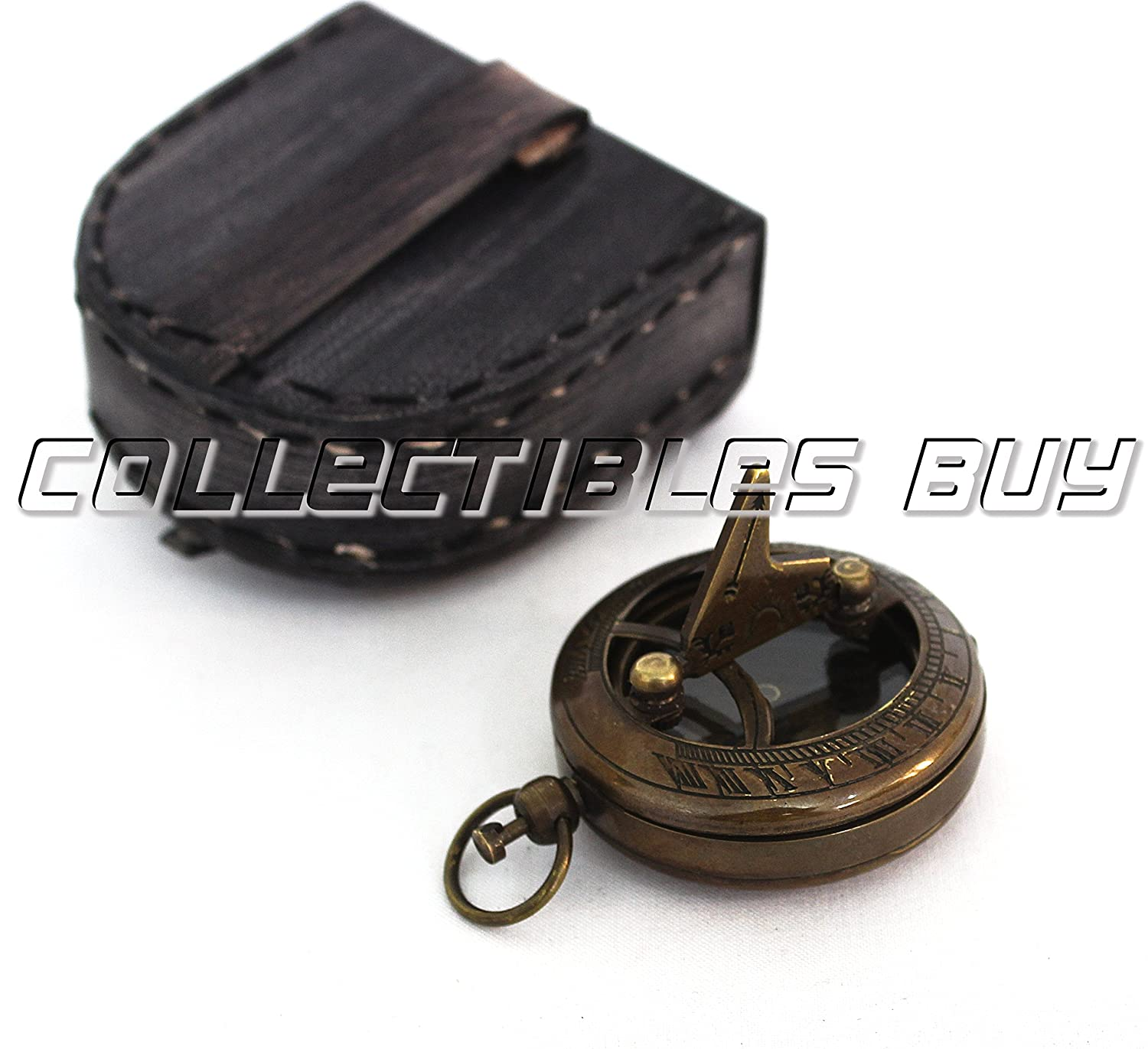 Nautical Pocket Sundial Compass Brass Compass Marine Leather Cover Tool Collectibles Buy ZCO378