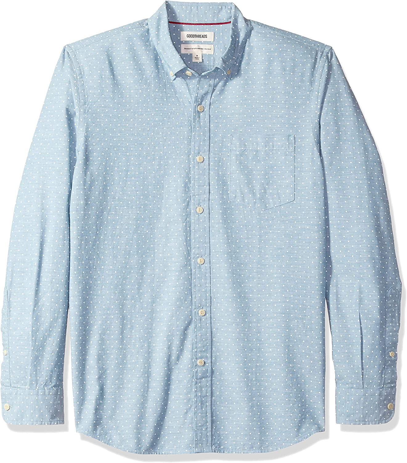 Brand Goodthreads Mens Slim-Fit Long-Sleeve Polka Dot Homespun Chambray Shirt