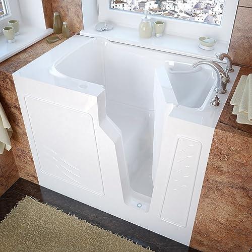Meditub MT2646RWS 3-Side Enclosure 26 by 46 by 38-Inch Walk In Soaker Bathtub Spa Right Side Door, White