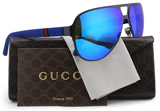 ed0bb201f19 Image Unavailable. Image not available for. Colour  GUCCI GG2252 S Aviator  Sunglasses Matte Black w Blue Mirror (0R63) 2252