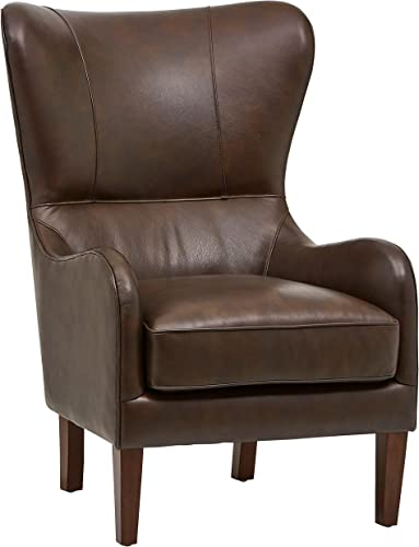 Stone Beam Deco Mid-Century Modern Leather Wingback Accent Chair, 36 W, Walnut