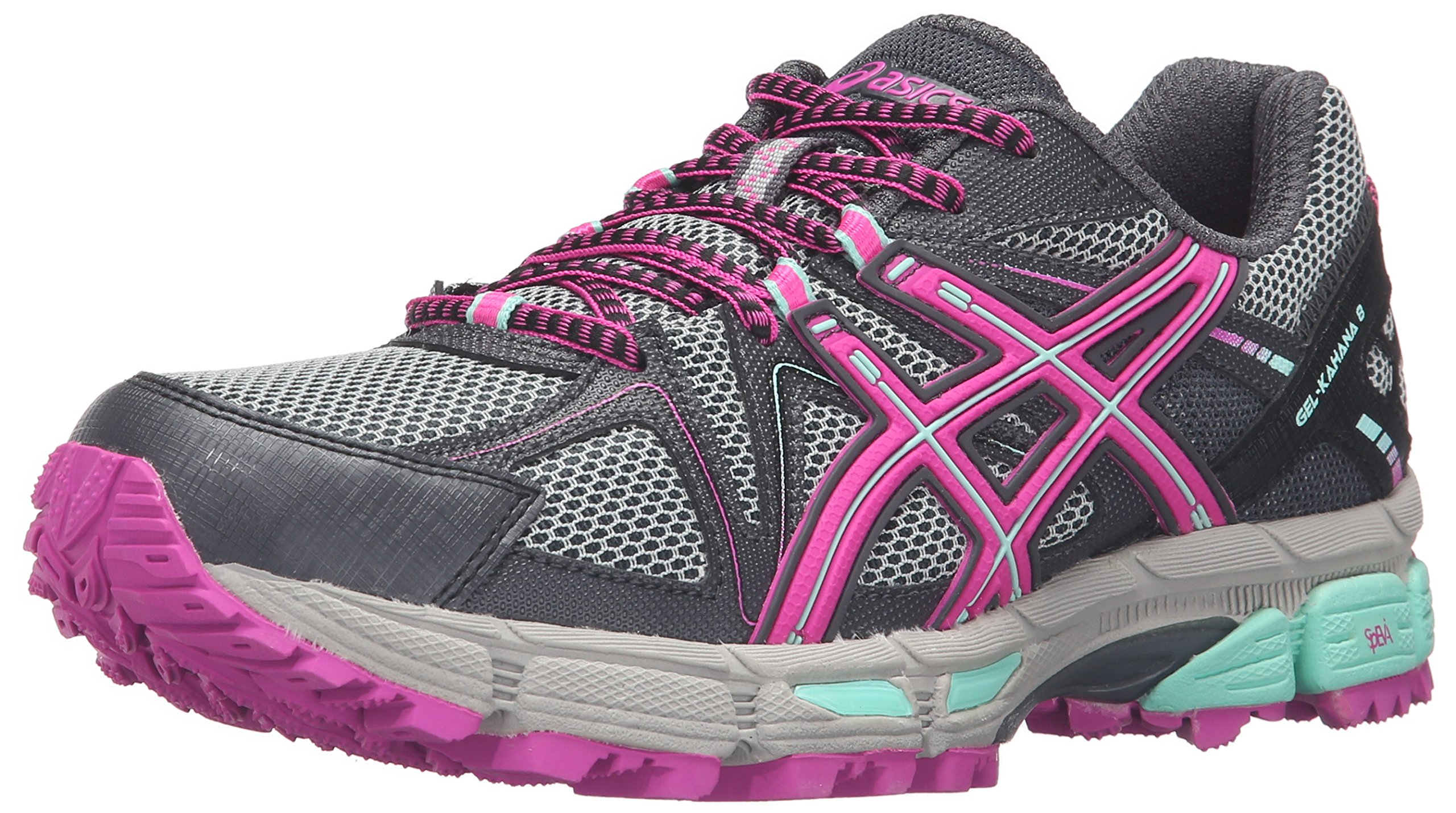 ASICS Women's Gel-Kahana 8 Trail Runner, Dark Steel/Pink Glow/Mint, 8 M US by ASICS