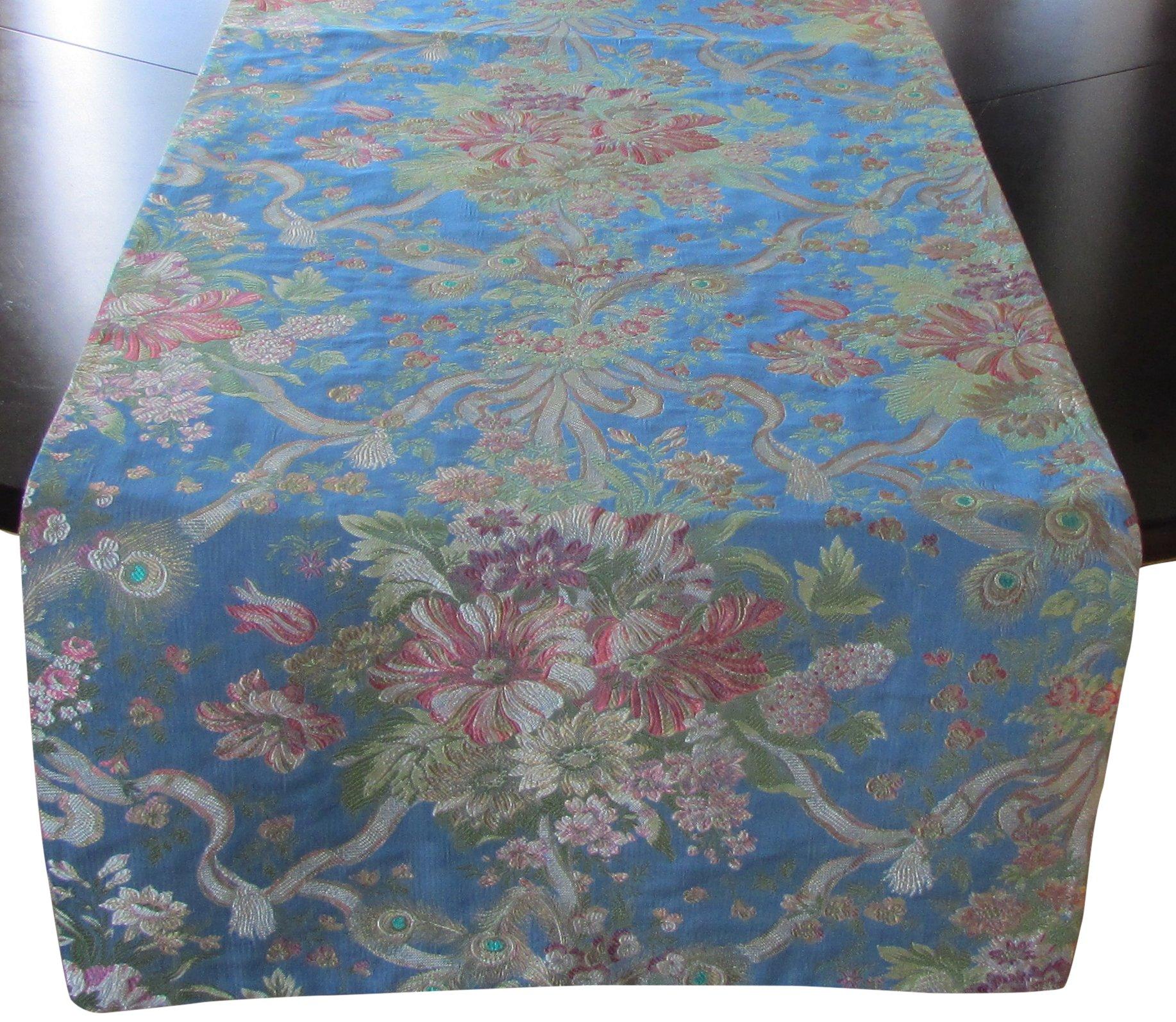 Corona Decor Extra-Wide Italian Woven Table Runner, 95 by 26-Inch, Blue/Rose by Corona Decor Co.