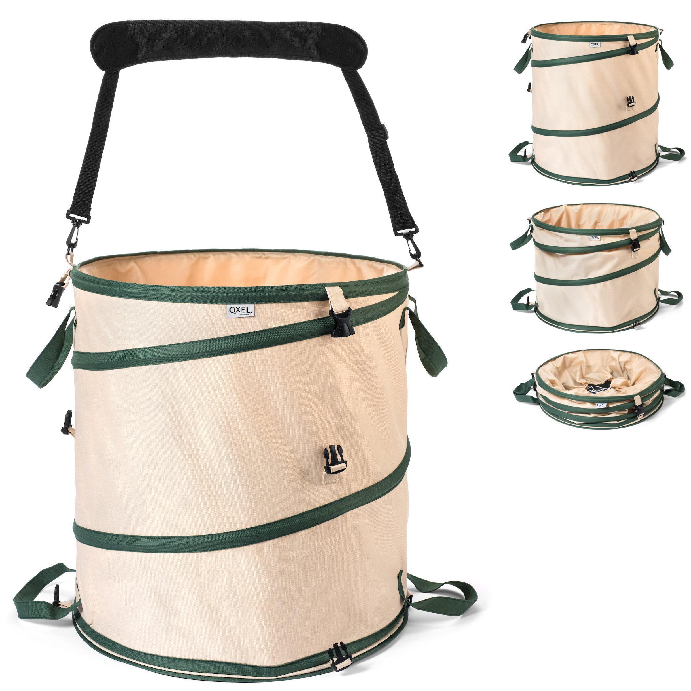 Oxel Heavy Duty, Puncture Resistant Reusable Leaf and Garden Bag for 30 Gallon Trash Bags - Collapsible with 4 Handles + Removable Shoulder Strap