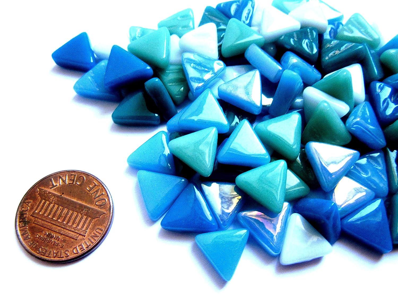 approx 100 tiles Glass Mosaic Pieces 10 mm Small White Mosaic Tiles Mini White Triangle Tiles 2 oz