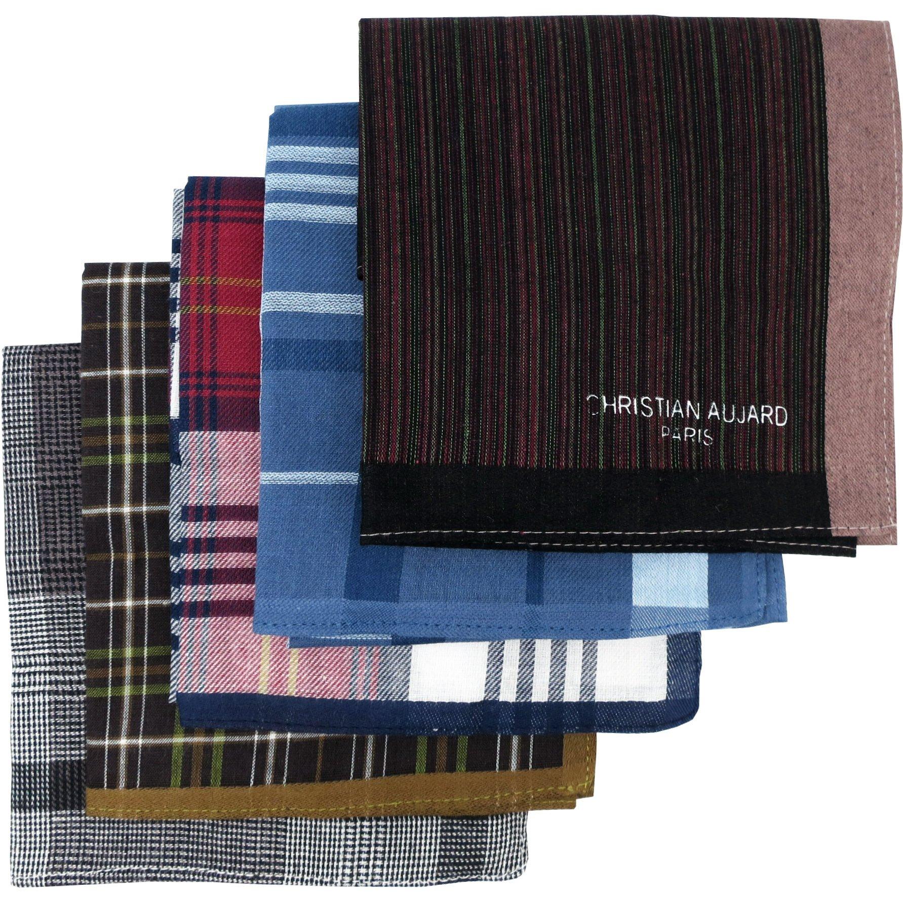 LEEVO Handkerchief Men Assorted Woven Cotton 100% Hankies Fashion 5pack Bulk Value Pack (17.5inch 5pack bulk no.2)