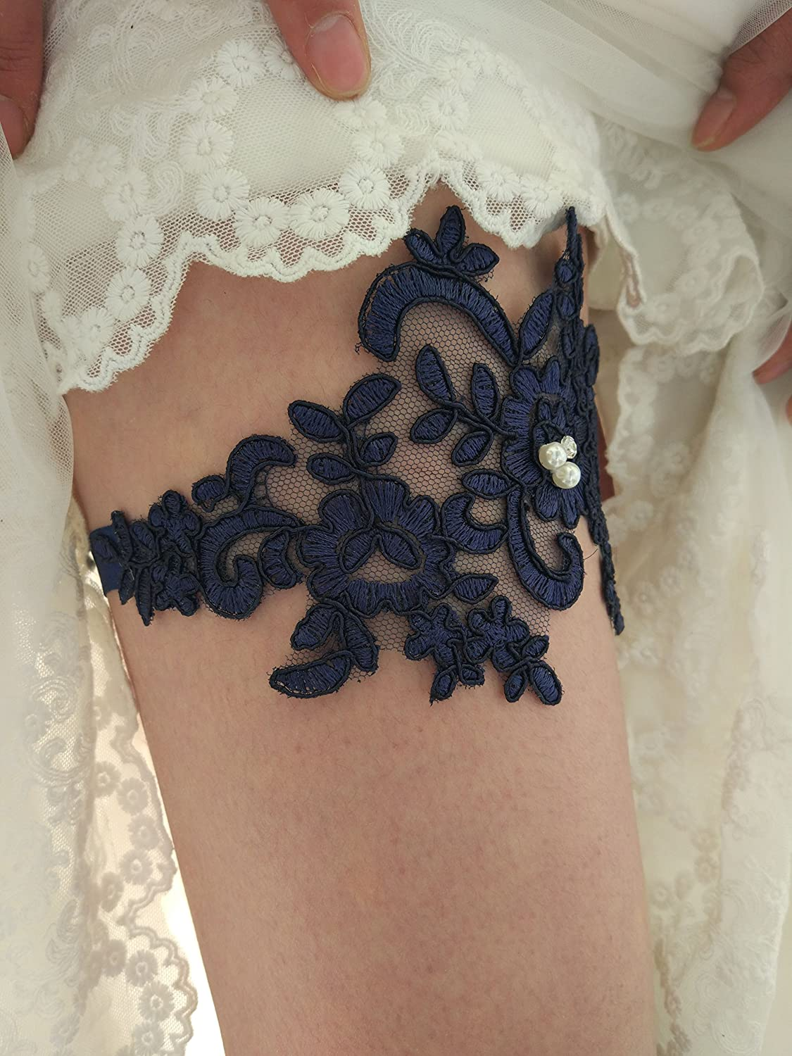 YhdDiy Lace Vintage Flower Beaded Wedding Garter for Bride Leaf Style S12