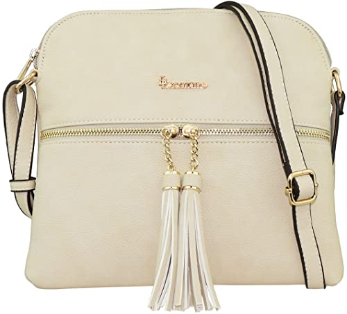 05073094b9f1 B BRENTANO Vegan Lightweight Crossbody Bag with Tassel Accents Medium  (Beige)