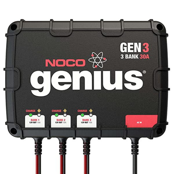 The NOCO Genius GEN3 car battery charger is a waterproof onboard battery charger.