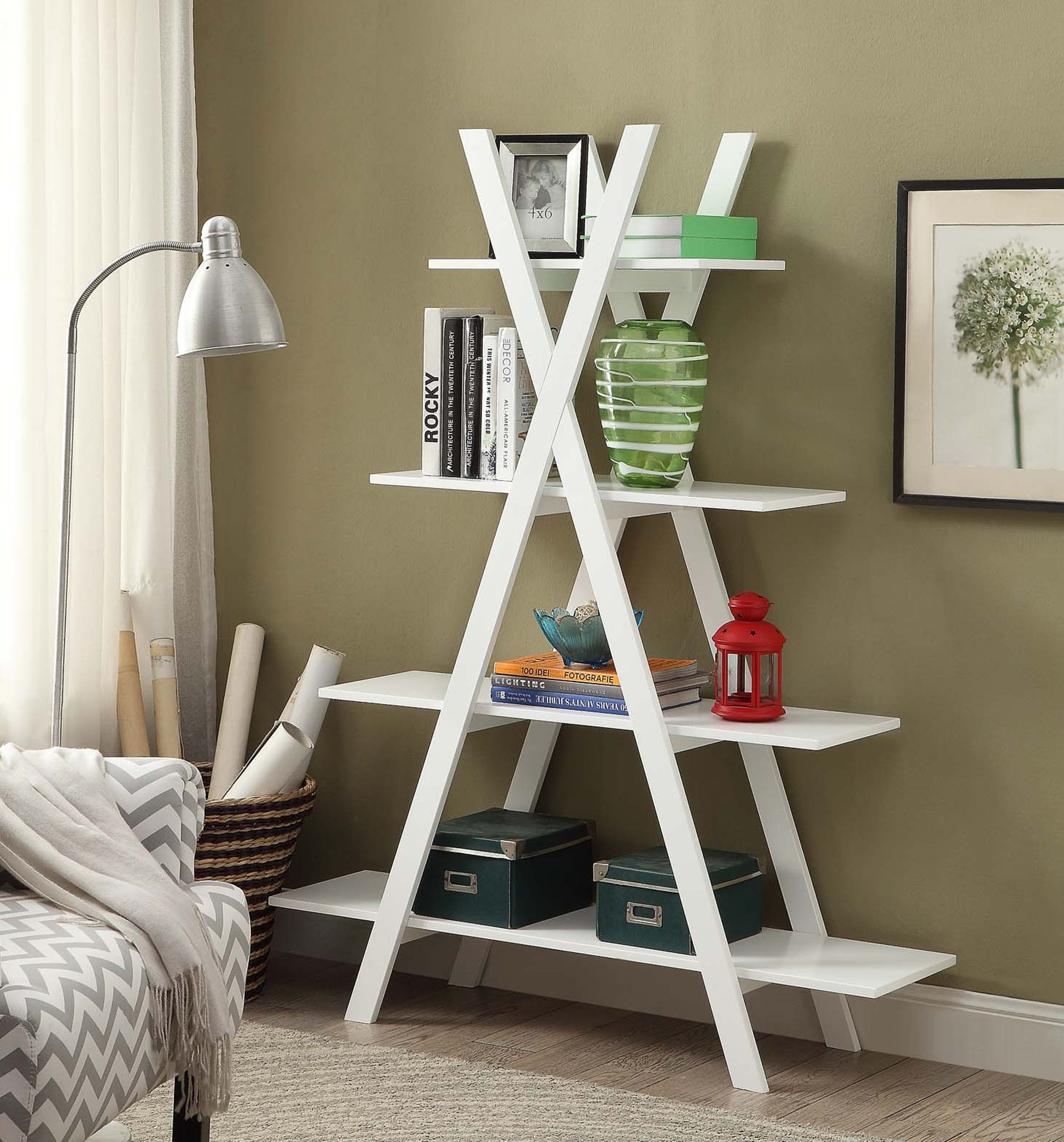 Convenience Concepts Oxford ''A'' Frame Bookshelf, White