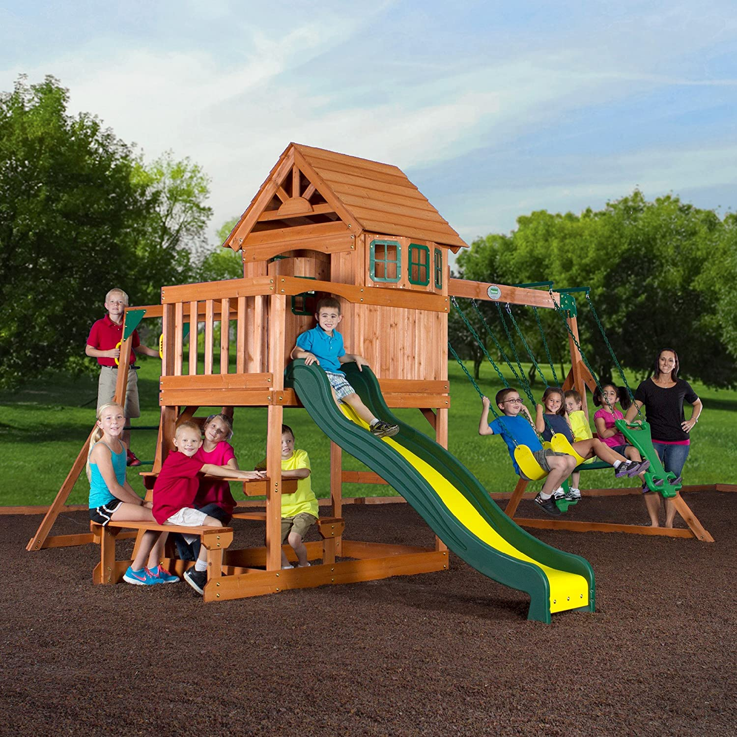 amazon com backyard discovery springboro all cedar wood playset